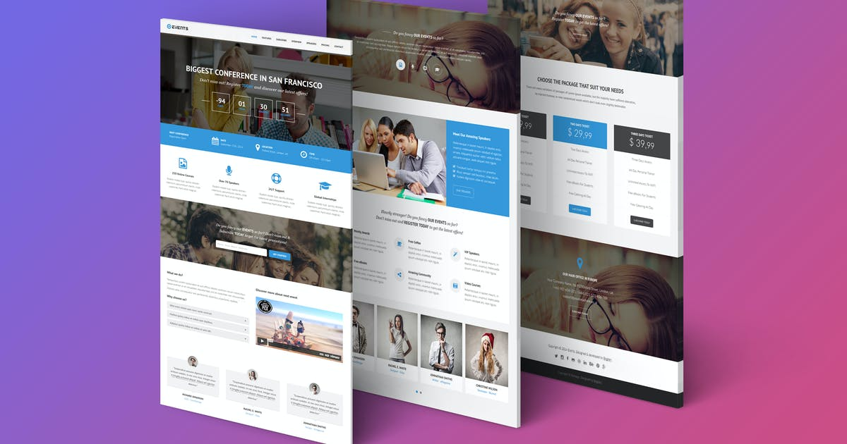 Events - Responsive Landing Page Template by Epic-Themes