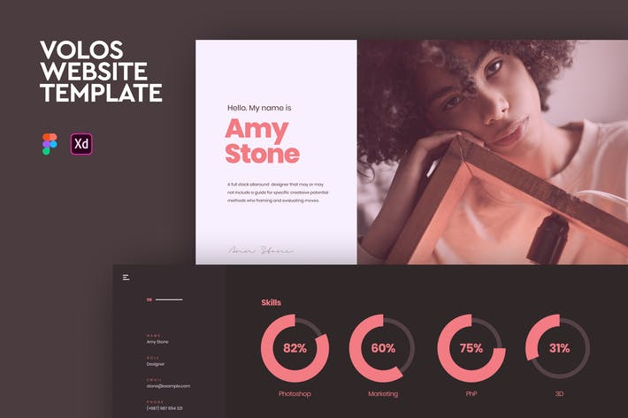Thumbnail for Volos - One Page Resume Adobe XD & Figma Template