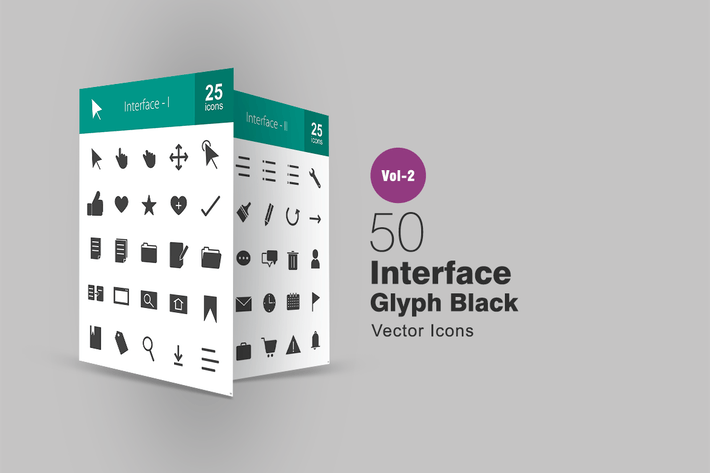 Thumbnail for 50 Interface Glyph Icons