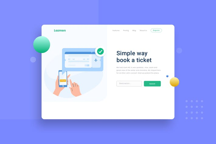 Thumbnail for Travel tickets booking landing page Illustion