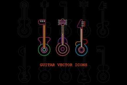 Set of Line Art Guitar Silhouettes vector icon set