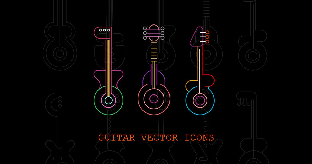 Download Set of Line Art Guitar Silhouettes vector icon set by danjazzia