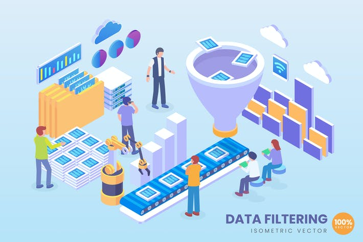 Thumbnail for Isometric Data Filtering Vector Concept
