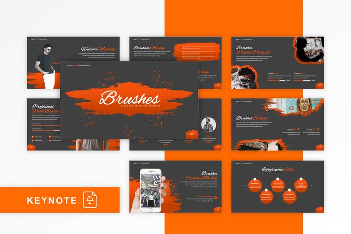 Thumbnail for Brushes - Creative Keynote Template