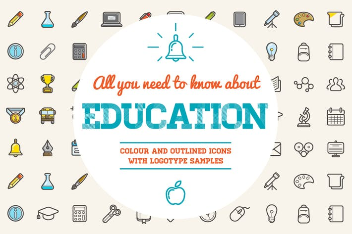 Thumbnail for Education Color and Outlined Icons with Logotypes