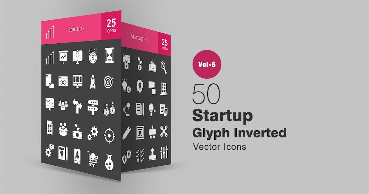 Download 50 Startup Glyph Inverted Icons by IconBunny