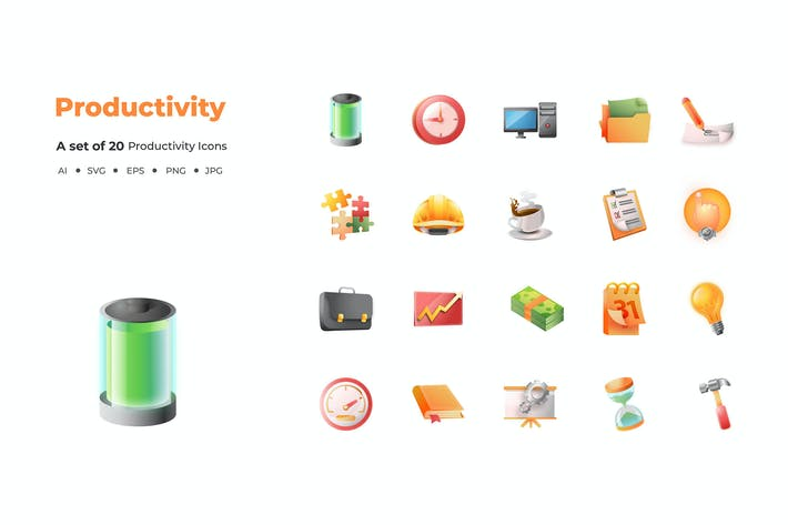 Thumbnail for 20 Productivity Icons