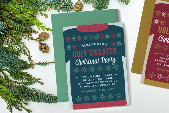 Cover Image For Ugly Sweater Christmas Party Invitation