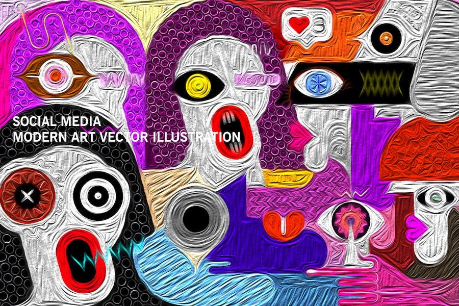 вектор иллюстрация социальных сетей
