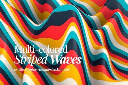 Mehrfarbige gestreifte Wellen Hintergründe