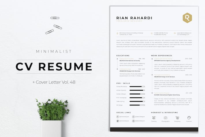 Thumbnail for Minimalist CV Resume Vol.48
