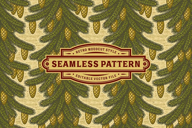 Seamless spruce pattern - product preview 1