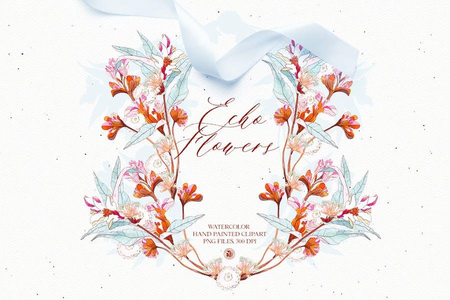Echo Flowers - watercolor floral clipart set