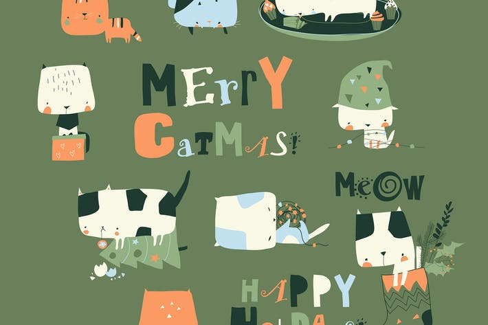Vector et of cute crazy cats with Christmas elemen