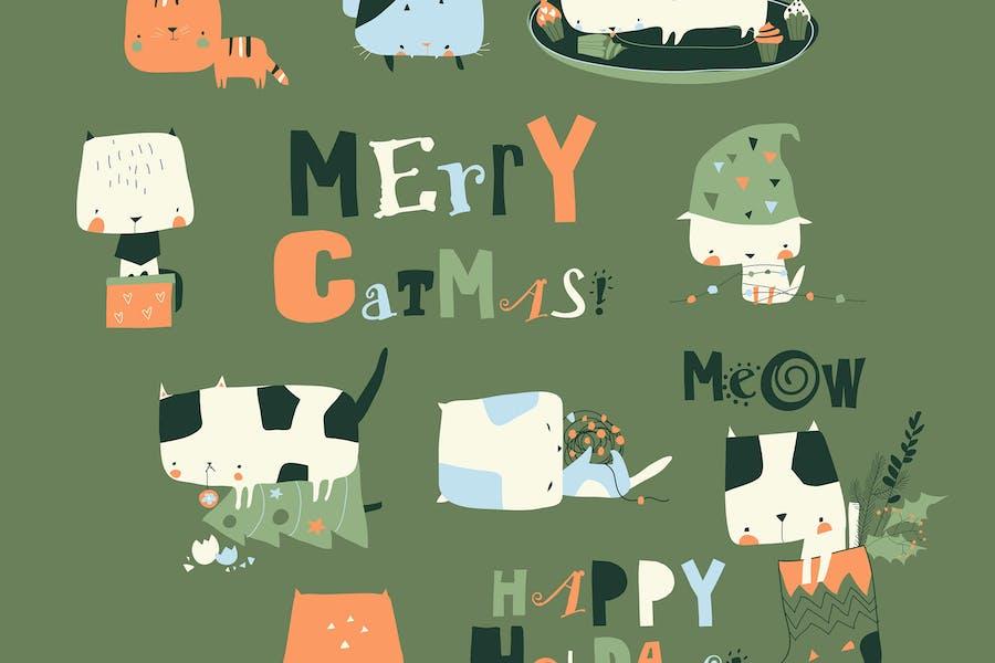 Vektor et von niedlichen verrückten Katzen mit Weihnachtselemen