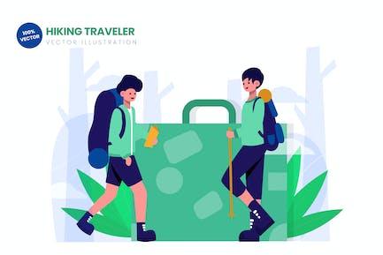 Senderismo viajero ilustración Vector plana