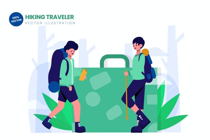 Hiking Traveler Flat Vector Illustration
