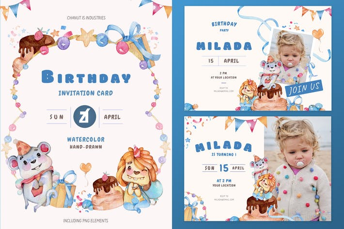 Thumbnail for Monster theme birthday invitation card