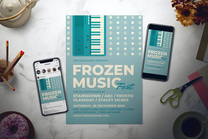 Retro Winter Music Flyer Set