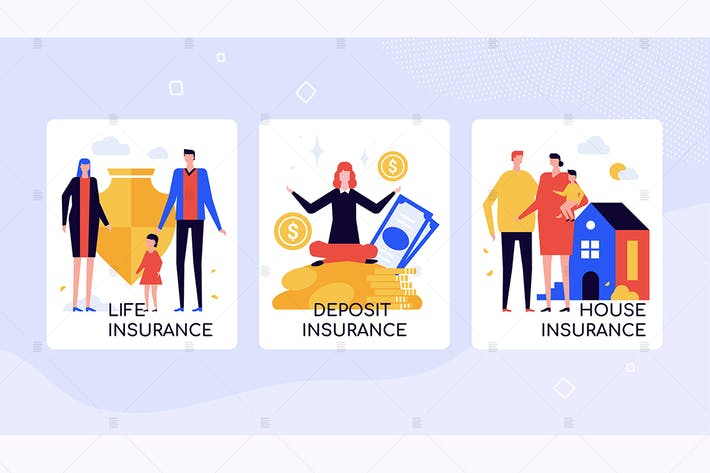 Thumbnail for Insurance company services colorful banners