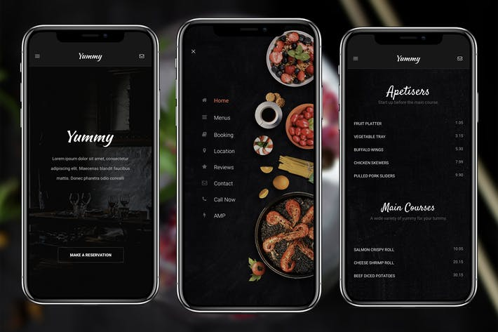 Thumbnail for AMP Yummy Mobile | Google AMP Mobile Template