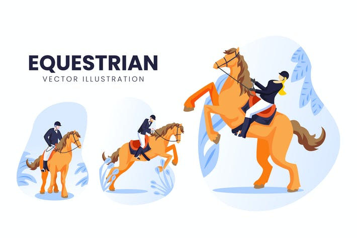 Thumbnail for Equestrian Athlete Vector Character Set