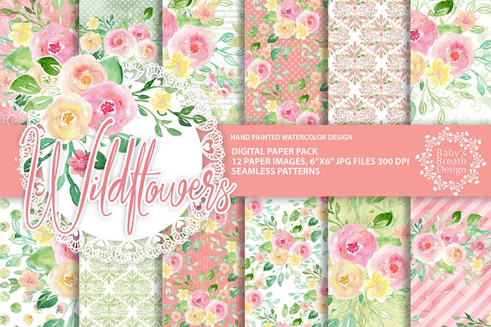 Thumbnail for Wild flower digital paper pack