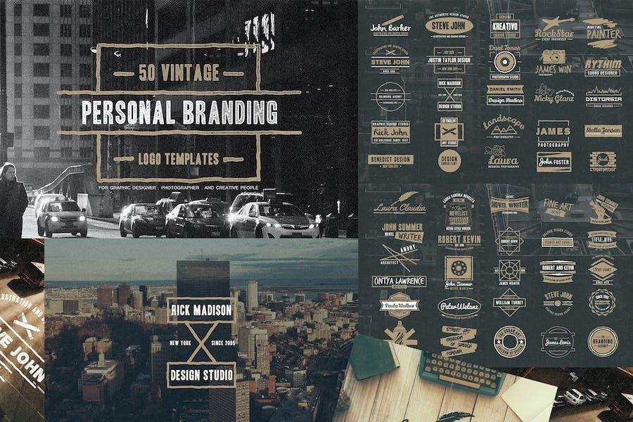 50 marcas de Logo personal Vintage.
