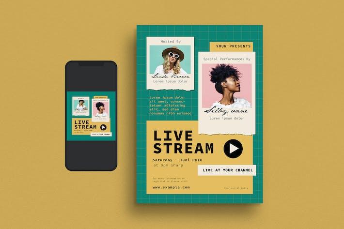 Thumbnail for Live Stream Event Flyer Set