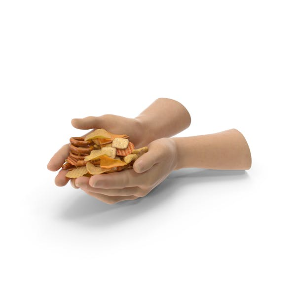 Two Hands Handful with Mixed Salty Snacks