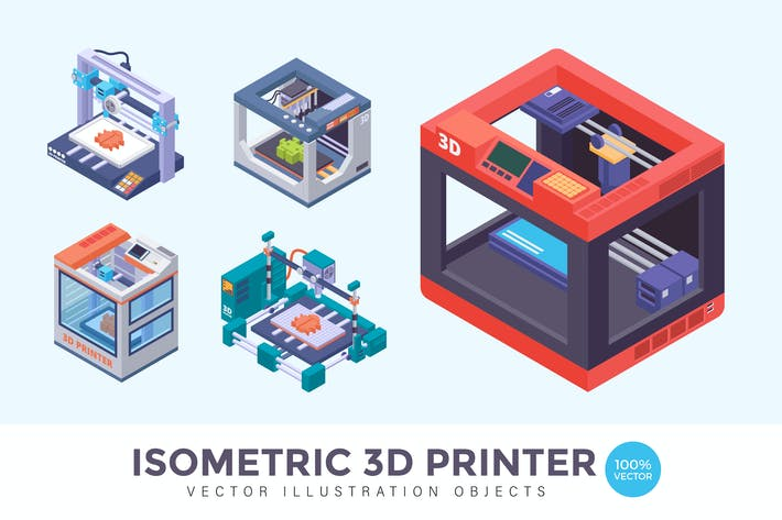 Thumbnail for Isometric 3D Printer Vector Illustration