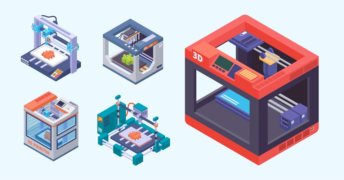 Download Isometric 3D Printer Vector Illustration by naulicrea