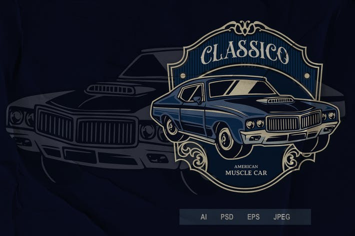 Thumbnail for Vintage Badge - Automotive Muscle Car V2