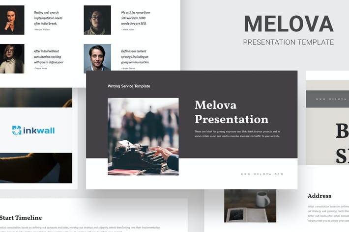 Thumbnail for Melova - Writing Services Google Slides