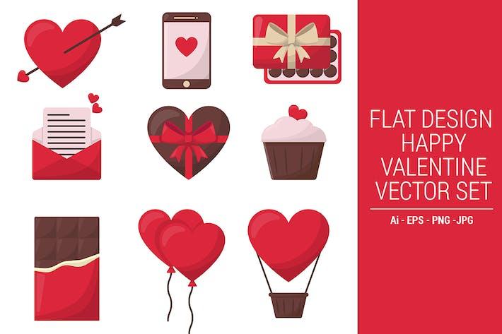 Flache Bauform Happy Valentine Vektor -Set Vol. 01