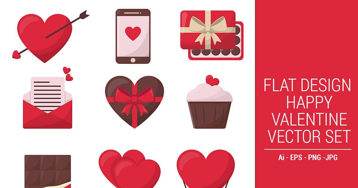 Download Flat Design Happy Valentine Vector Set Vol. 01 by CocoTemplates