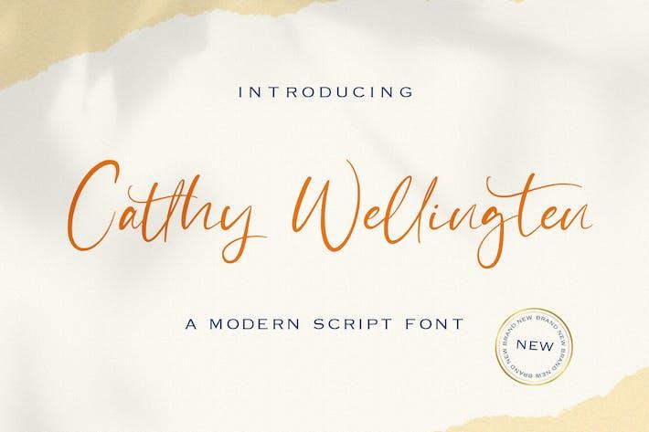 Thumbnail for Catthy Wellingten - Police de caractères de script moderne