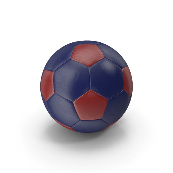 Realistic Leather Soccer Ball Red Blue
