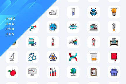 50 Research Science Icons