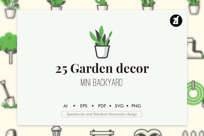 Thumbnail for 25 Garden elements in monocolor design