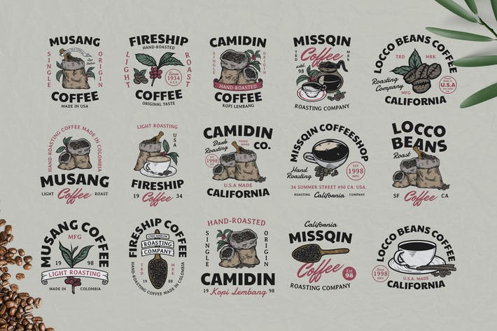 Thumbnail for 15 Coffee Vintage Badges