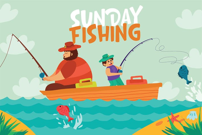 Thumbnail for Sunday Fishing - Vector Illustration