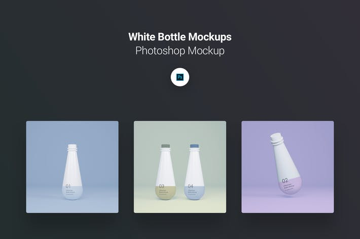 Thumbnail for White Plastic Bottle Photoshop Mockup Pack