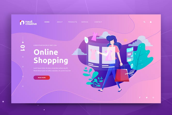 Thumbnail for Online Shopping Web PSD and AI Vector Template