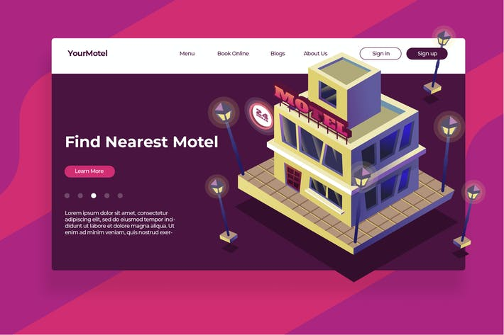 Thumbnail for Motel - Banner & Landing Page