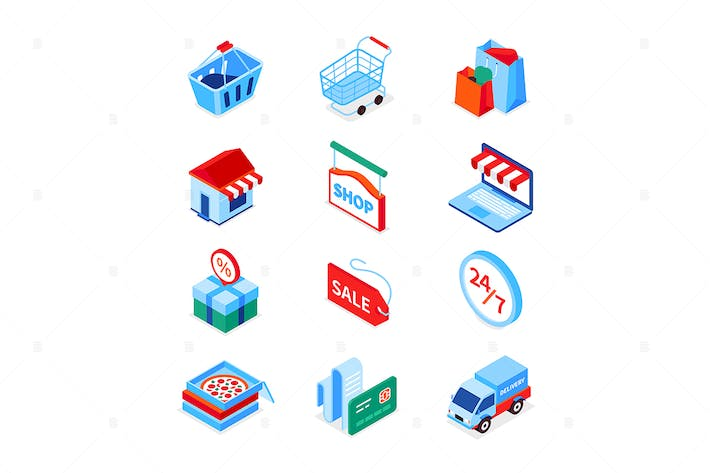 Thumbnail for Online shopping and delivery - isometric icons