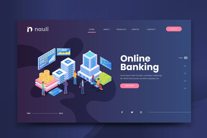 Thumbnail for Isometric Online Banking Web PSD and AI Vector