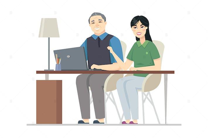 Thumbnail for Senior Chinese man at the computer - illustration