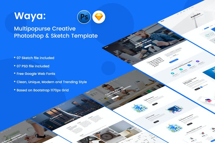 Thumbnail for WAYA - Multipurpose Creative PSD & Sketch Template