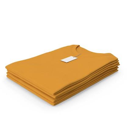 Female Crew Neck Folded Stacked With Tag Orange